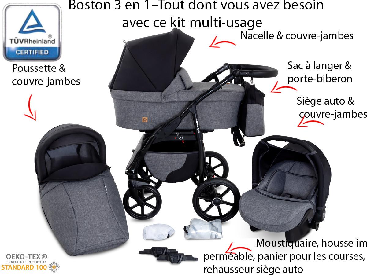 Poussette Bébé 3 en 1+Siège-auto+Nacelle Ceinture de sécurité Moustiquaire