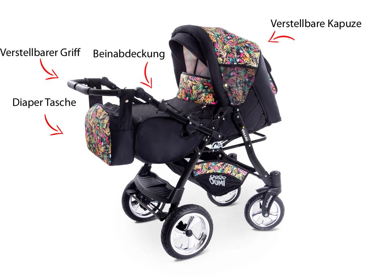 Urbano Kinderwagen 3in1 Kombikinderwagen Babyschale System Autositz Denim